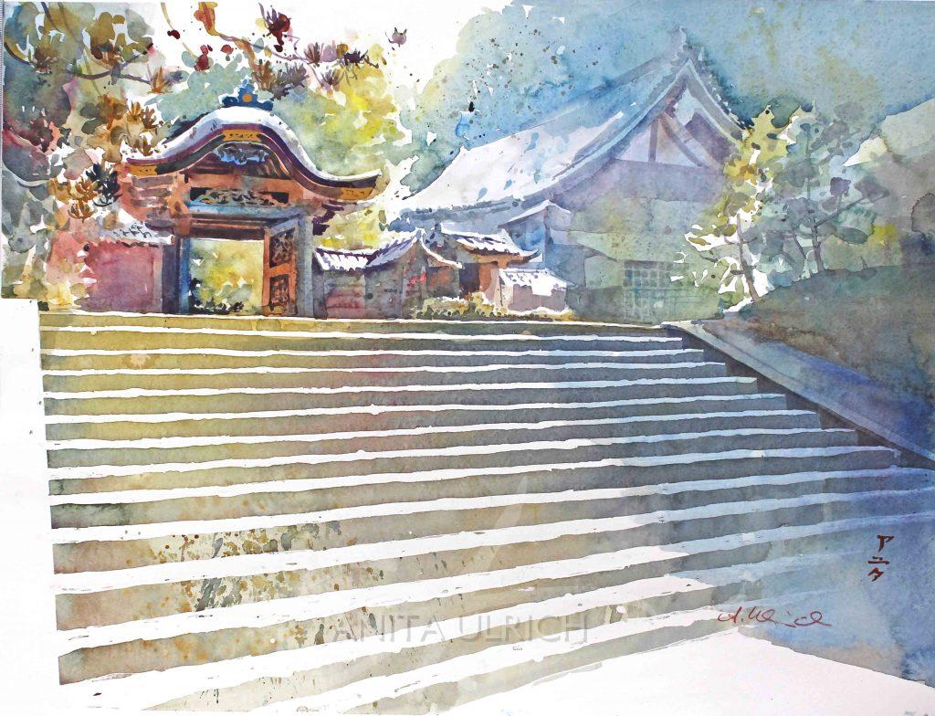 Treppe und Tempel