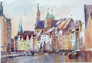 Postkarte Maximilianstrasse Augsburg