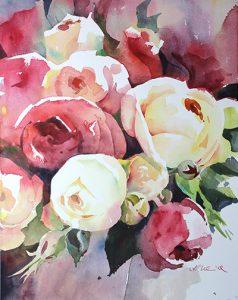 Rote und weiße Rosen