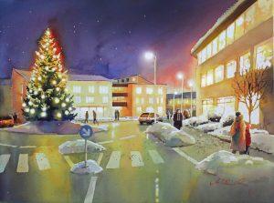 Weihnachtsbaum im Kreisverkehr Deizisau